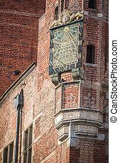 sundial, em, a, gdansk, prefeitura, -, polônia