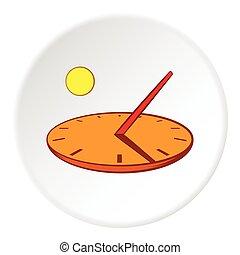 Sundial icon, cartoon style