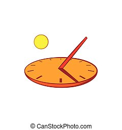 Sundial icon in cartoon style