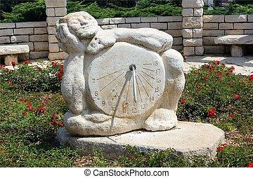 Sundial sculpture in the Rose garden, Park Ramat Hanadiv, ...
