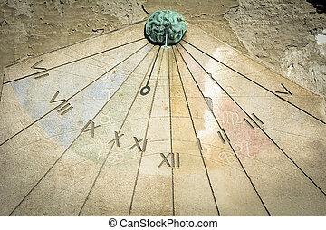 Sundial - Large decorative sundial catches the sunshine on...