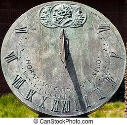 Sundial - Closeup of bronze sundial