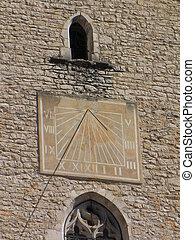 Sundial, sun, Bell-tower, church