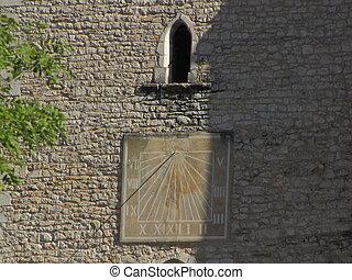 Sundial, sun, bell-tower