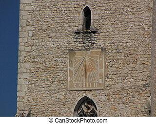 Sundial, sun, Bell-tower, wall