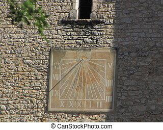 Sundial, sun, church, village