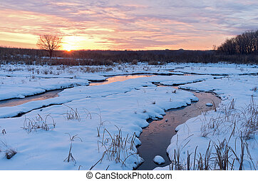 Sundown at Minnesota Valley Wildlife Refuge in Winter