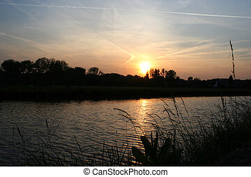 sundown at river