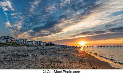 Sundown at the Beach - Sundown on the Chesapeake Bay in...