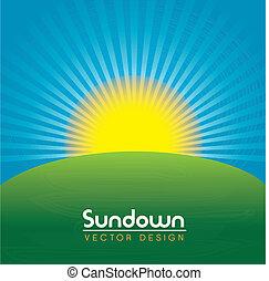 sundown design over landscape background vector illustration...