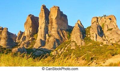 Sundown in Meteora - Timelapse of rocks in Meteora at...