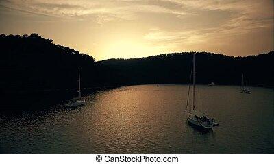 Sundown on island Mljet aerial
