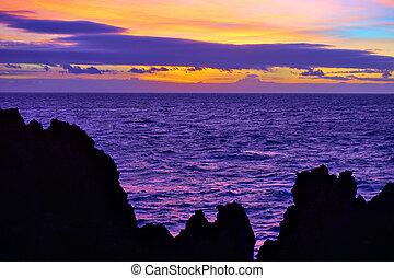 Sundown over Atlantic Ocean