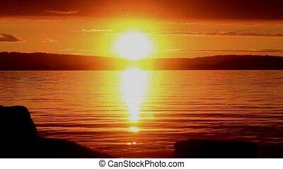 Sundown - nice sundown at lake
