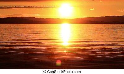 Sundown at lake