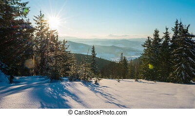 Sundown time lapse in winter mountain - Winter time lapse in...