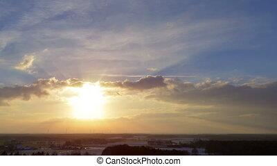 sundown winter clouds time lapse