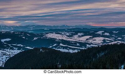 Sundown winter mountain, timelapse - Winter in Carpatian...