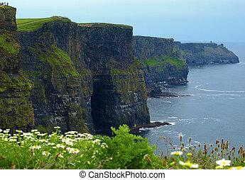 sunet, capture, falaises, moher, ouest, célèbre, irlande