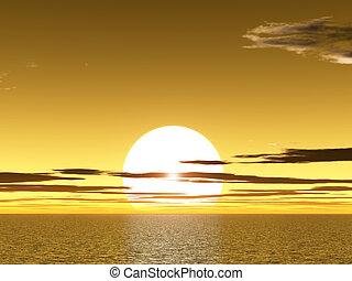 sunet, jaune, au-dessus, océan
