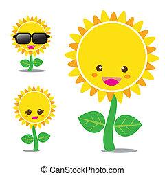 Sunflower 001 - Vector of smile sunflower, set happy flower