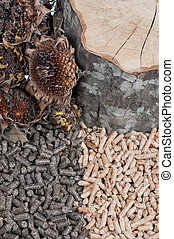 Sunflower and oak pellets