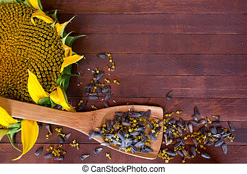 Sunflower and seeds on wooden background