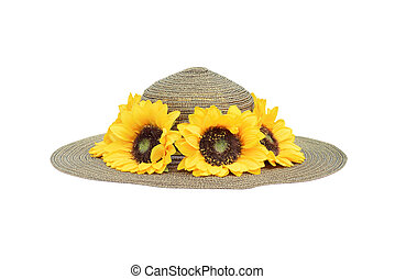 sunflower and straw hat
