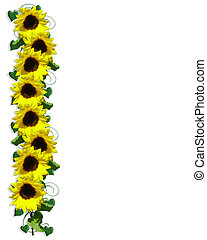 Sunflower Border - Illustration and image composition for...