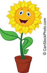 Sunflower cartoon - Vector illustration of Sunflower cartoon