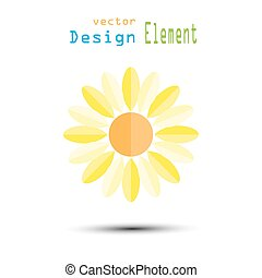 Sunflower cartoon vector illustration on white background