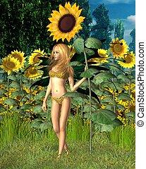 Sunflower Fairy, Summer background