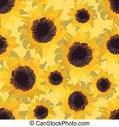 Sunflower flower seamless pattern.