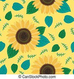 sunflower flower seamless pattern