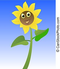 Sunflower. Funny cartoon character. Vector flat illustration