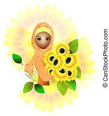 sunflower girl - a beautiful muslim girl holding sunflowers
