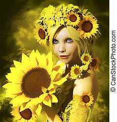 Sunflower Girl - a portrait of a young girl with sunflowers