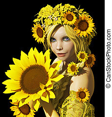 Sunflower Girl CA - a portrait of a young girl with...