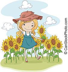 Sunflower Girl - Illustration of a Little Girl Picking...