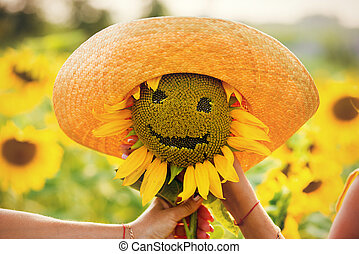 sunflower hat smiling summer day