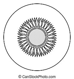 Sunflower icon in circle round outline black color vector illustration flat style image