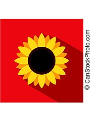 Sunflower icon in flat style with long shadow on red background. Vector Illustration
