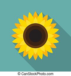 Sunflower icon in flat style with long shadow. Vector Illustration