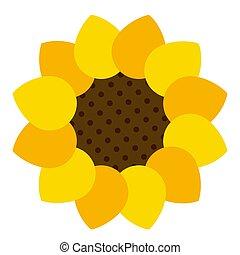 Sunflower icon on white isolated background. Vector Illustration.
