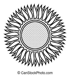 Sunflower icon outline black color vector illustration flat style image