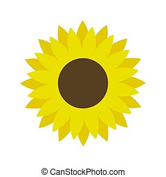 Sunflower icon vector isolated on white background