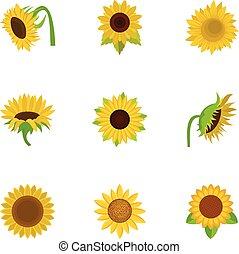 Sunflower icons set, cartoon style