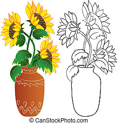 Sunflower in vase - Sunflower in vase. Color and outline...
