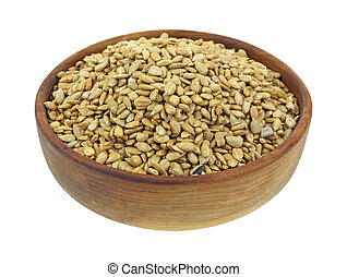 A full bowl of organic sunflower kernel seeds.