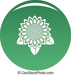 Sunflower leaf icon vector green